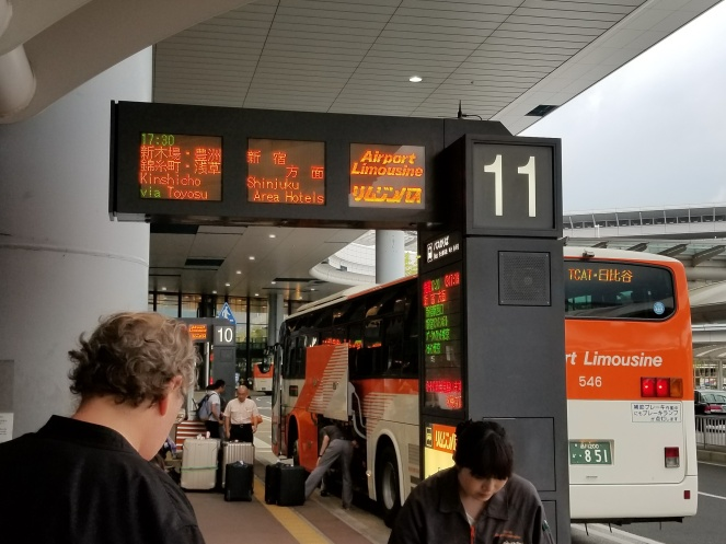 Bus stop at the airport.